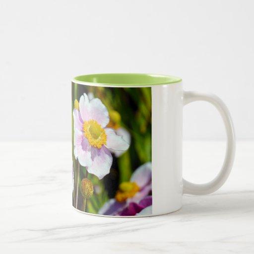 Pink japanese anemone flower coffee mug