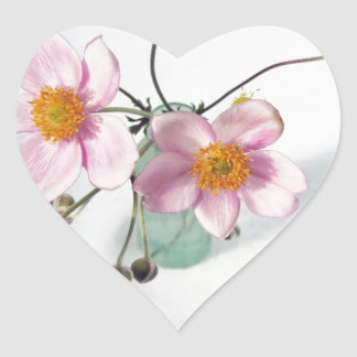 Pink Japanese Anenomes in a Green Vase Heart Sticker