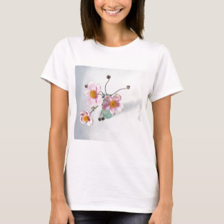 Pink Japanese Anenomes in a Green Vase T-Shirt