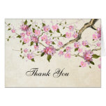 Pink Japanese Cherry Blossom Thank You Stationery Note Card