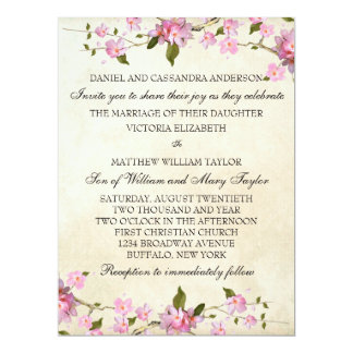 Pink Japanese Cherry Blossoms Wedding Card