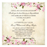 Pink Japanese Cherry Blossoms Wedding Personalized Announcement