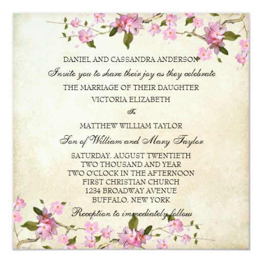 Pink Japanese Cherry Blossoms Wedding 5.25x5.25 Square Paper Invitation Card