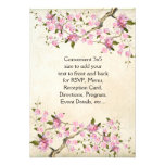Pink Japanese Cherry Blossoms Wedding Custom Announcement