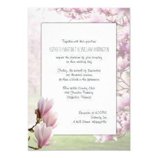 Pink Japanese Magnolia Blossoms Wedding Card