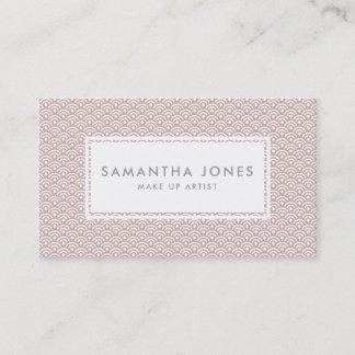 Pink Japanese Pattern Design Modern Make Up Artist Business Card