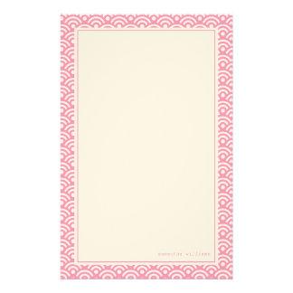 Pink Japanese Seigaiha Pattern Custom Stationery