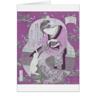 Pink Japanese Woman & Cat / ReMix of Jewel Utagawa Card