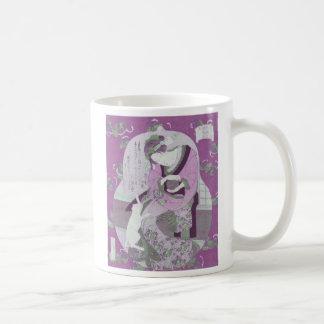 Pink Japanese Woman & Cat / ReMix of Jewel Utagawa Coffee Mug