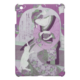Pink Japanese Woman & Cat / ReMix of Jewel Utagawa iPad Mini Cover