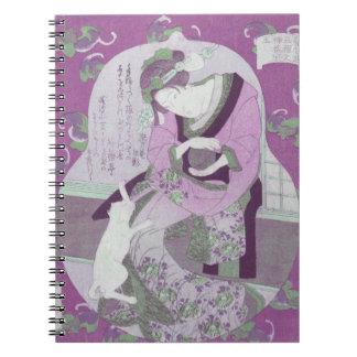 Pink Japanese Woman & Cat / ReMix of Jewel Utagawa Notebook