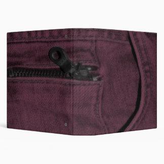 Pink Jean Zipper Pocket 3 Ring Binder
