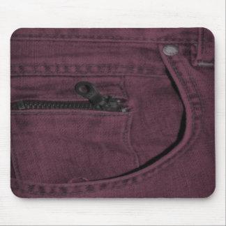 Pink Jean Zipper Pocket Mouse Pad