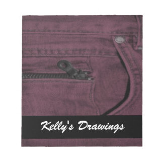 Pink Jean Zipper Pocket Note Pad