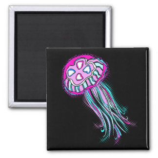 Pink Jellyfish 2 Inch Square Magnet