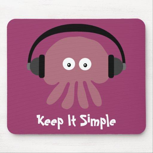 Pink Jellyfish & Headphones Keep It Simple Mouse Pad
