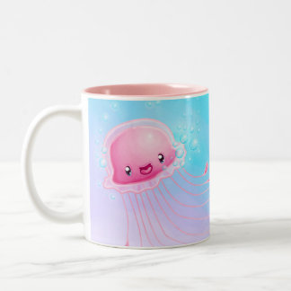 Pink Jellyfish Two-Tone Coffee Mug
