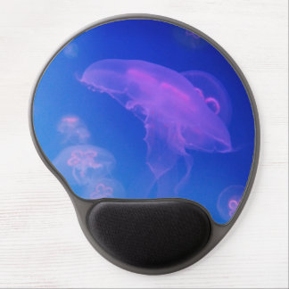 Pink jellyfishes in blue water gel mouse pad