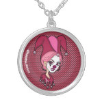 Pink Jester Round Pendant Necklace