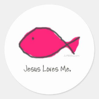 Pink Jesus Fish Classic Round Sticker