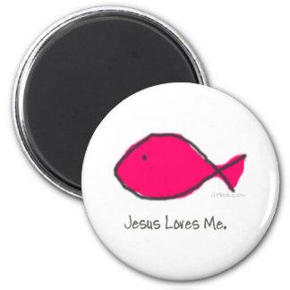 Pink Jesus Fish Magnet