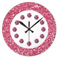 Pink Jewel Bling Wall Clock