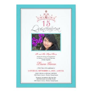 Pink Jeweled Tiara Quinceanera Invitation (aqua)