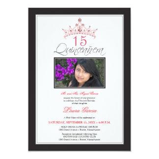 Pink Jeweled Tiara Quinceanera Invitation (black)
