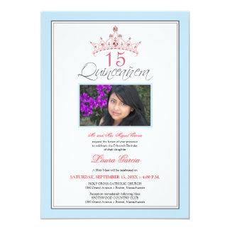 Pink Jeweled Tiara Quinceanera Invitation (blue)