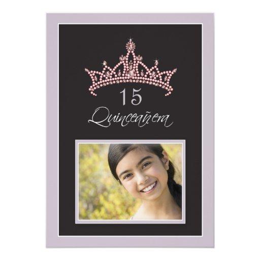 "Pink Jeweled Tiara Quinceanera Invitation (lilac) 5"" X 7"" Invitation Card"