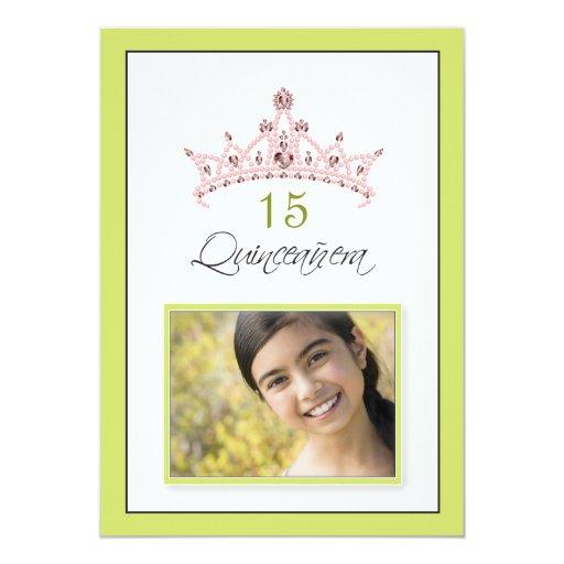 Pink Jeweled Tiara Quinceanera Invitation (lime)
