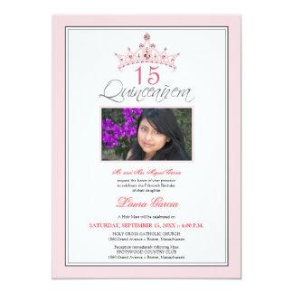 Pink Jeweled Tiara Quinceanera Invitation (pink)