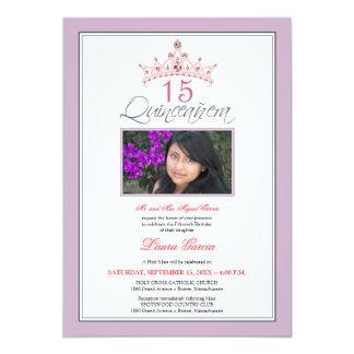 Pink Jeweled Tiara Quinceanera Invitation (purple)