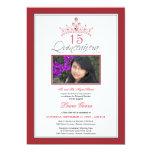 "Pink Jeweled Tiara Quinceanera Invitation (red) 5"" X 7"" Invitation Card"