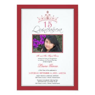 Pink Jeweled Tiara Quinceanera Invitation (red)