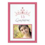 "Pink Jeweled Tiara Quinceanera Invitation (rose) 5"" X 7"" Invitation Card"
