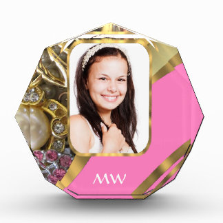 Pink jewelry personalized background acrylic award
