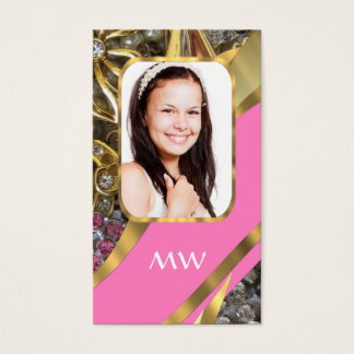 Pink jewelry personalized background business card