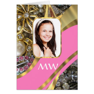 Pink jewelry personalized background greeting card