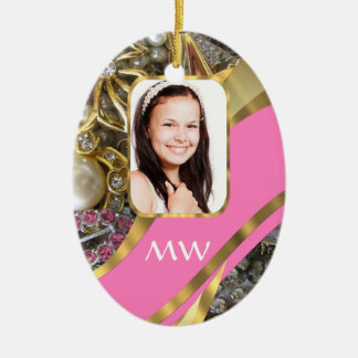 Pink jewelry personalized background ceramic ornament