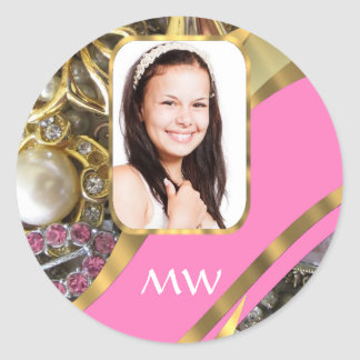 Pink jewelry personalized background classic round sticker