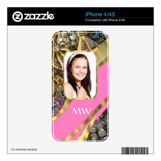 Pink jewelry personalized background iPhone 4S decals