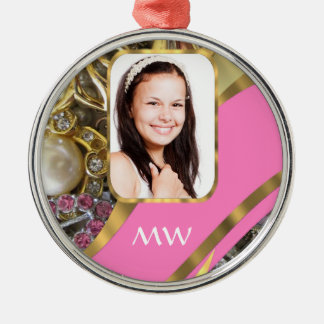 Pink jewelry personalized background metal ornament
