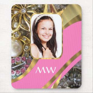 Pink jewelry personalized background mouse pad