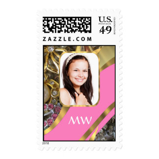 Pink jewelry personalized background postage stamps