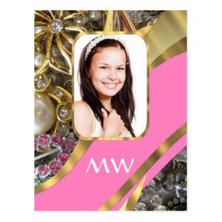 Pink jewelry personalized background postcard