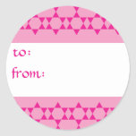 Pink Jewish Stars Gift Tags Round Stickers