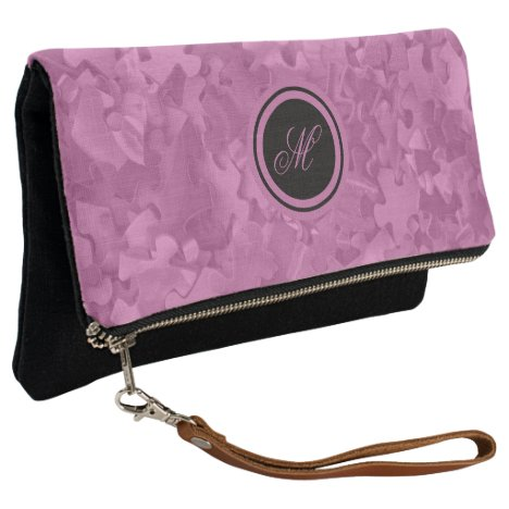 Pink Jigsaw Puzzles Pattern Monogrammed Clutch