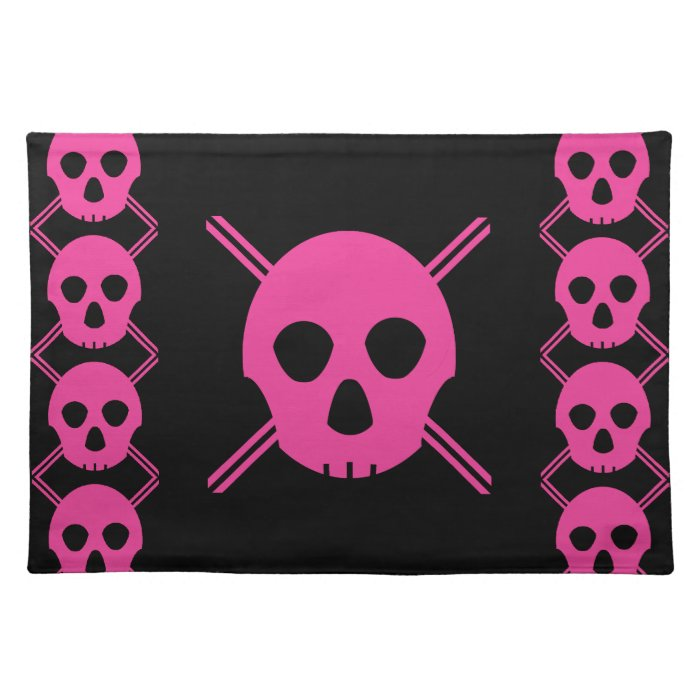 Pink Johnny Skull Cloth Placemat