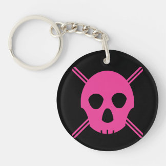 Pink Johnny Skull Double-Sided Round Acrylic Keychain